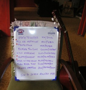 Set list at rehearsal