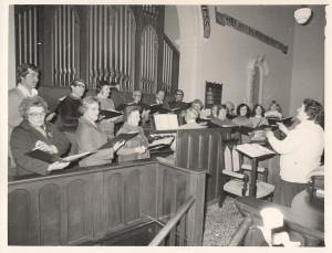 Mum conducting the Noble St church choir, 1978.