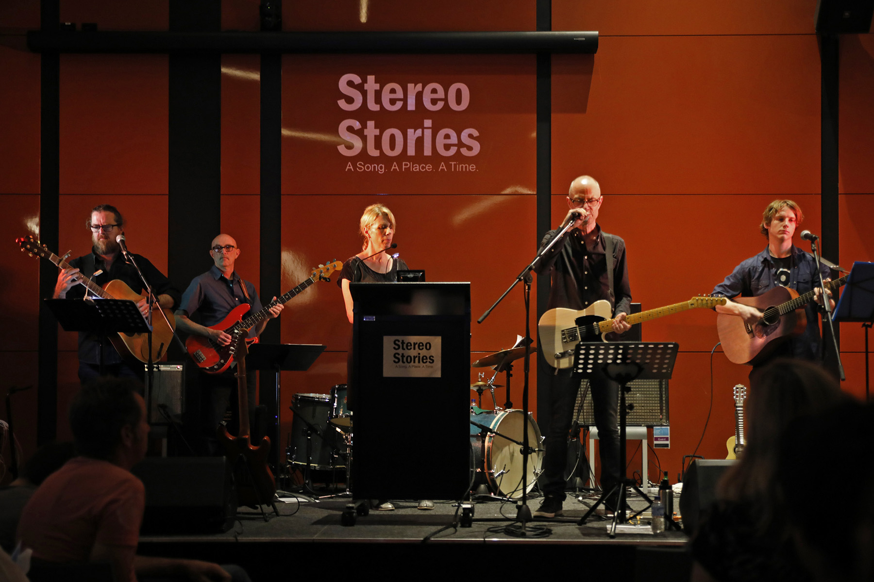 Zoe Krupka and The Stereo Stories Band. (Drummer Anthony Shortte obscured by lectern!) Photo by Patrick Reynolds
