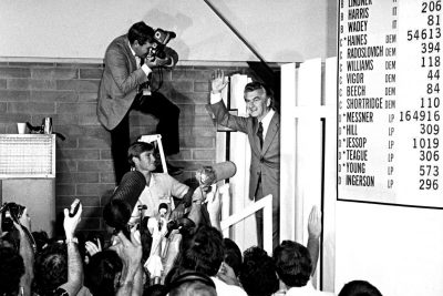 Bob Hawke on election night 1983.